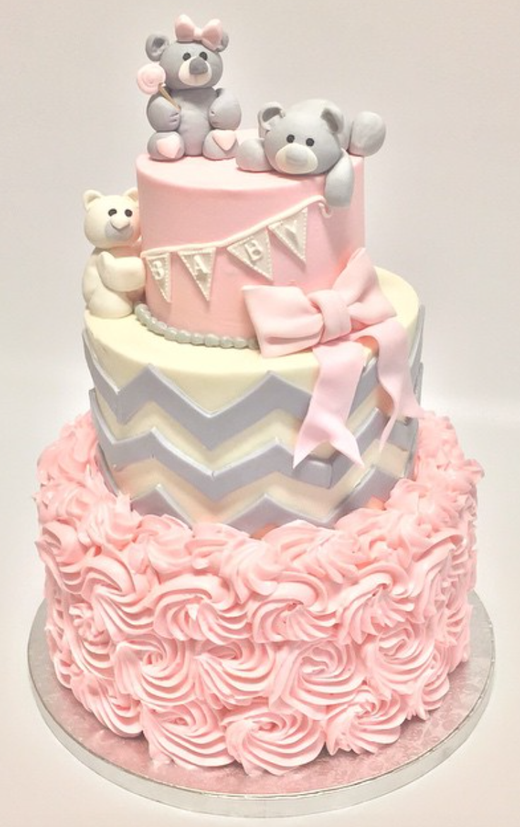 Layered Pink Cake Perfect For A Girls Baby Shower Topped