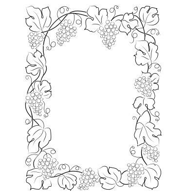 clip art of black calligraphy frame wine label vine grapes - Wine Picture Frames
