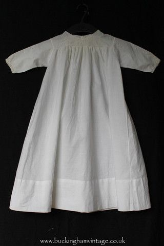 Antique Baby Dress Embroidery White Cotton 1900 Victorian