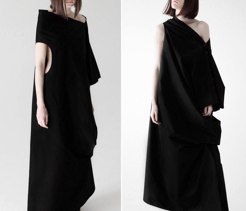 Black Dress Gothic Wedding Dress Black Maxi Dress Futuristic Clothing Steampunk Dress Plus Size Dress Summer Dress Asymmetric Dress