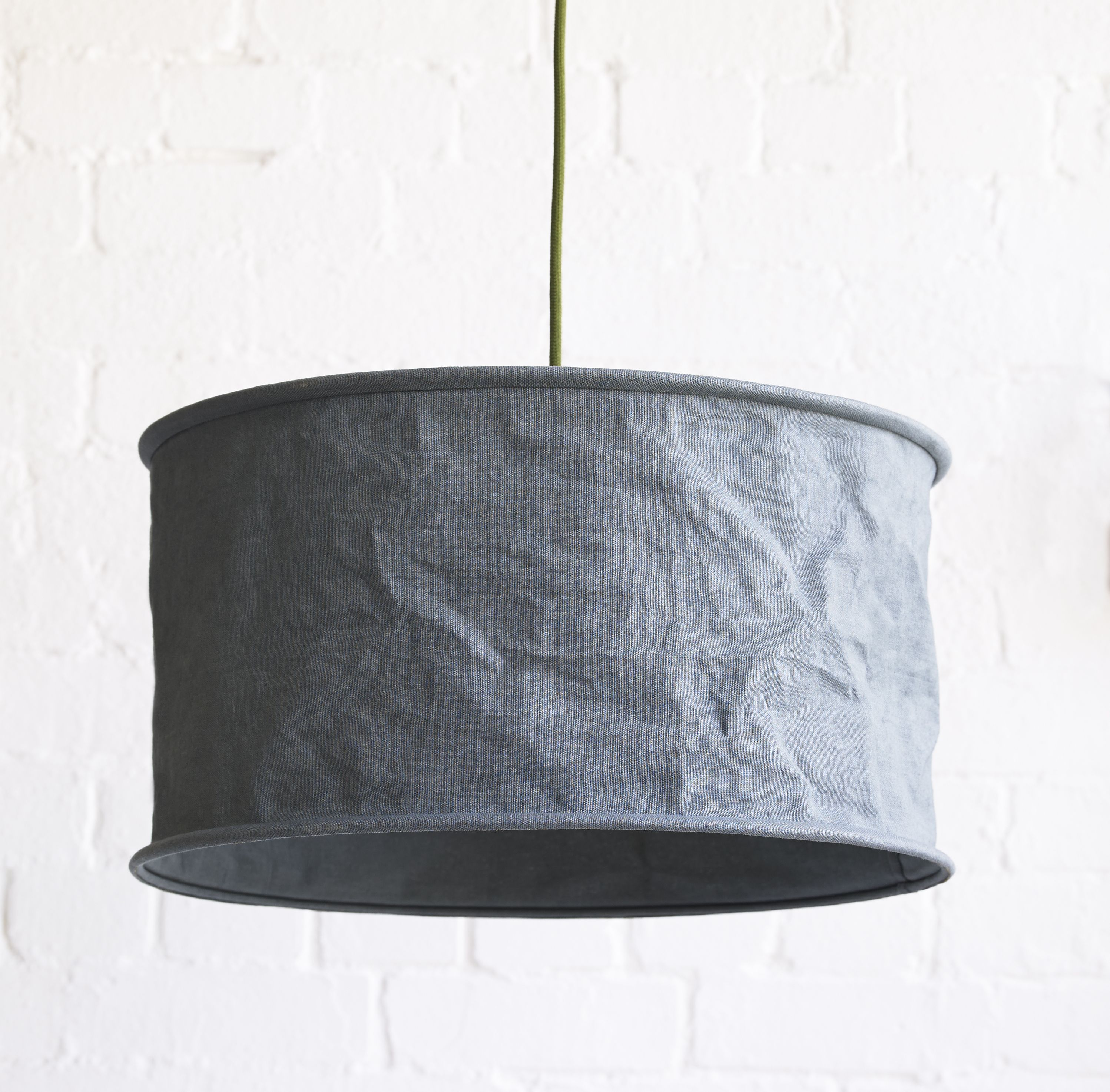 The clue is in the name this is a loose linen shade that drops our designer pendant lights lighting greentooth Choice Image