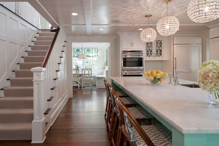 Incredible Kitchen Beside Stairwell With Board And Batten