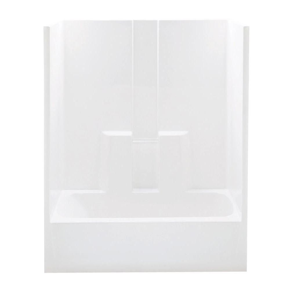 Aquatic Everyday 60 in. x 30 in. x 72 in. Right Drain 1-Piece Bath and Shower Kit in White
