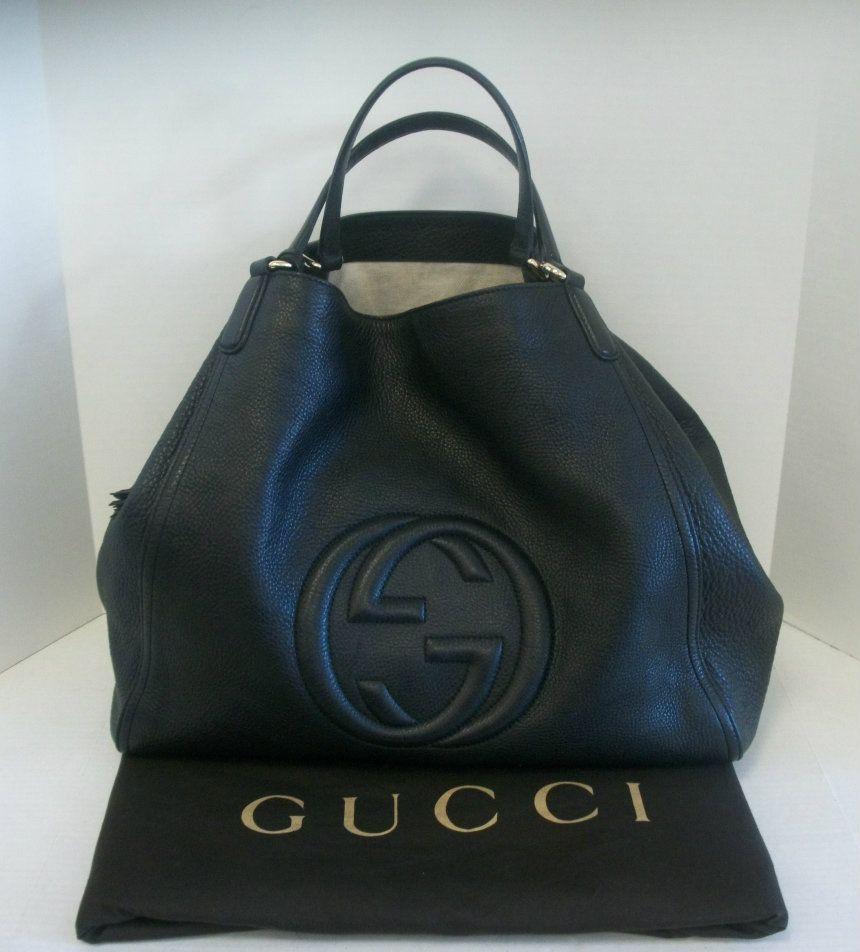 f27369bbf25 Keeks Buy Sell Designer Handbags - Gucci Black Leather Soho Large Shoulder  Bag