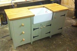 Pine Freestanding Belfast Butler Sink Unit With Solid Oak Top Cupboard  Drawers | EBay