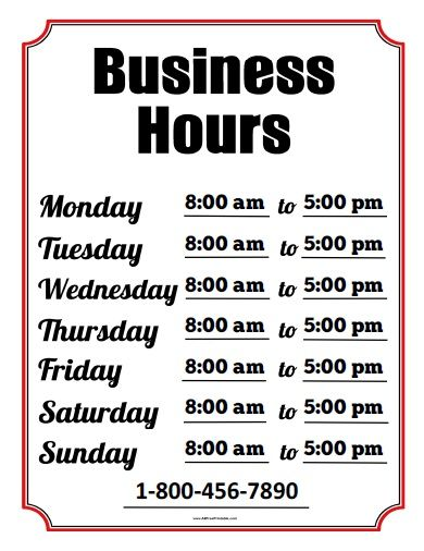 Free Printable Business Hours Sign  Week  Chefs In The Kitchen