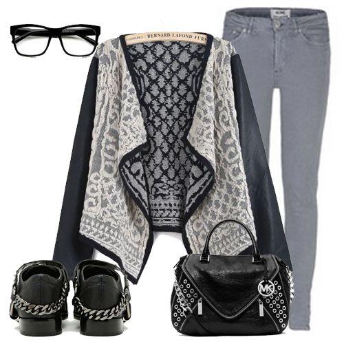 Black Contrast PU Leather Metallic Yoke Cardigan