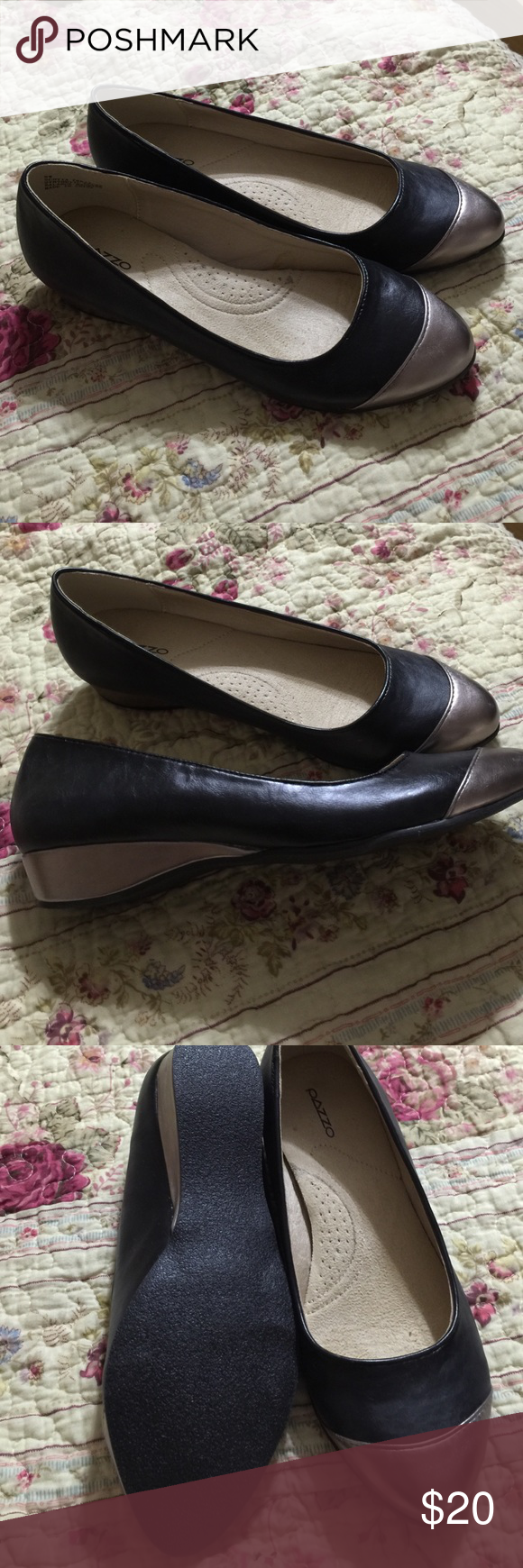 Beautiful wedges, black and gold Beautiful black and gold low heeled wedges. New in box and never worn. Great with slacks or dress Pazzo Shoes Wedges