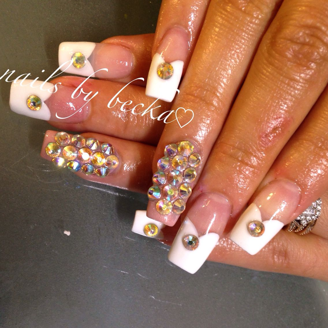 Coffin nails 3d design heart French tip , acrylic nails | Nails by ...