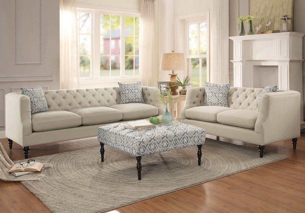 Niles Gray Fabric Living Room Furniture Living Room Sets