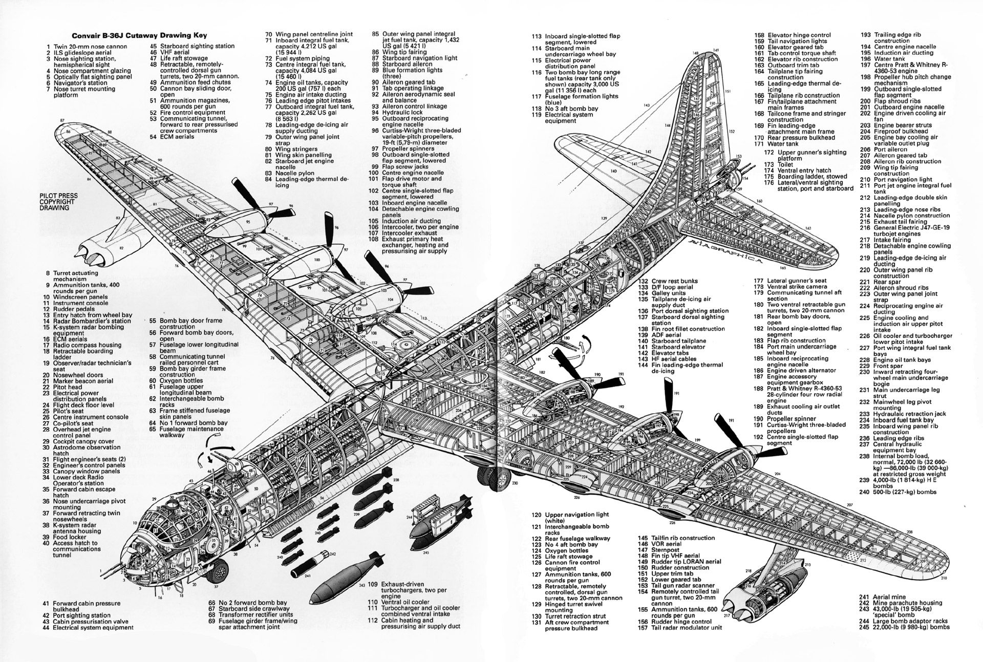Thingscutinhalf The Largest Piston Aircraft Ever Made The B 36 Peacemaker 1920 X 1293 Imgur Aircraft Aircraft Design Cutaway
