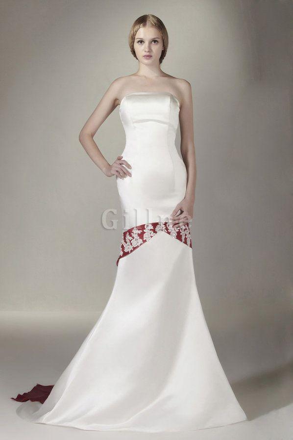 Natürliche Taille Mitte Rücken Satin Karree Bodenlanges Brautkleid ...