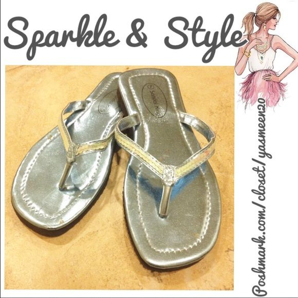 Fancy flip flops. Adorable sequin strap, shiny light blue flip flops. Never been worn. Light foam base for comfortable wear. Shoes