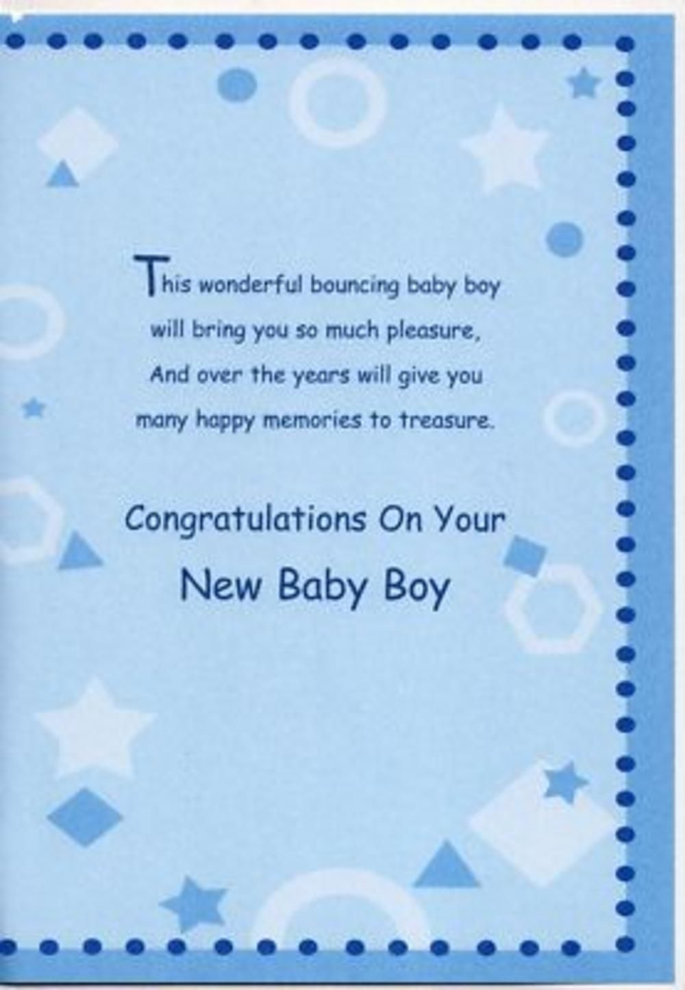 New Baby Boy Wishes Birth New Baby Boy Greeting Card Thumbnail 2