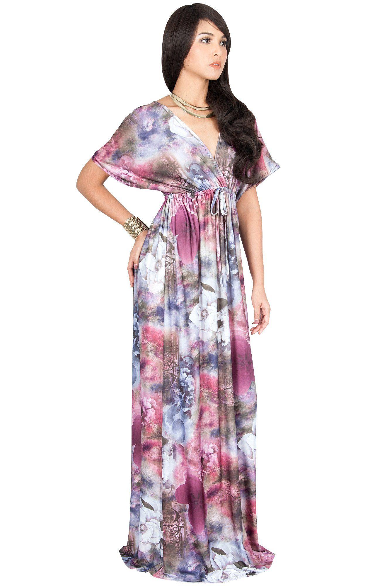 5e0bfa9e91577 Maternity Fashion - KOH KOH Plus Size Womens Long Kimono Short Sleeve VNeck  Floral Print Spring
