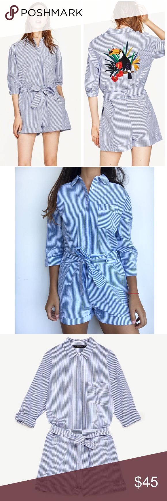 63de1a956d08 Zara blue white striped toucan short jumpsuit M Amazing romper slash short  jumpsuit in seersucker blue