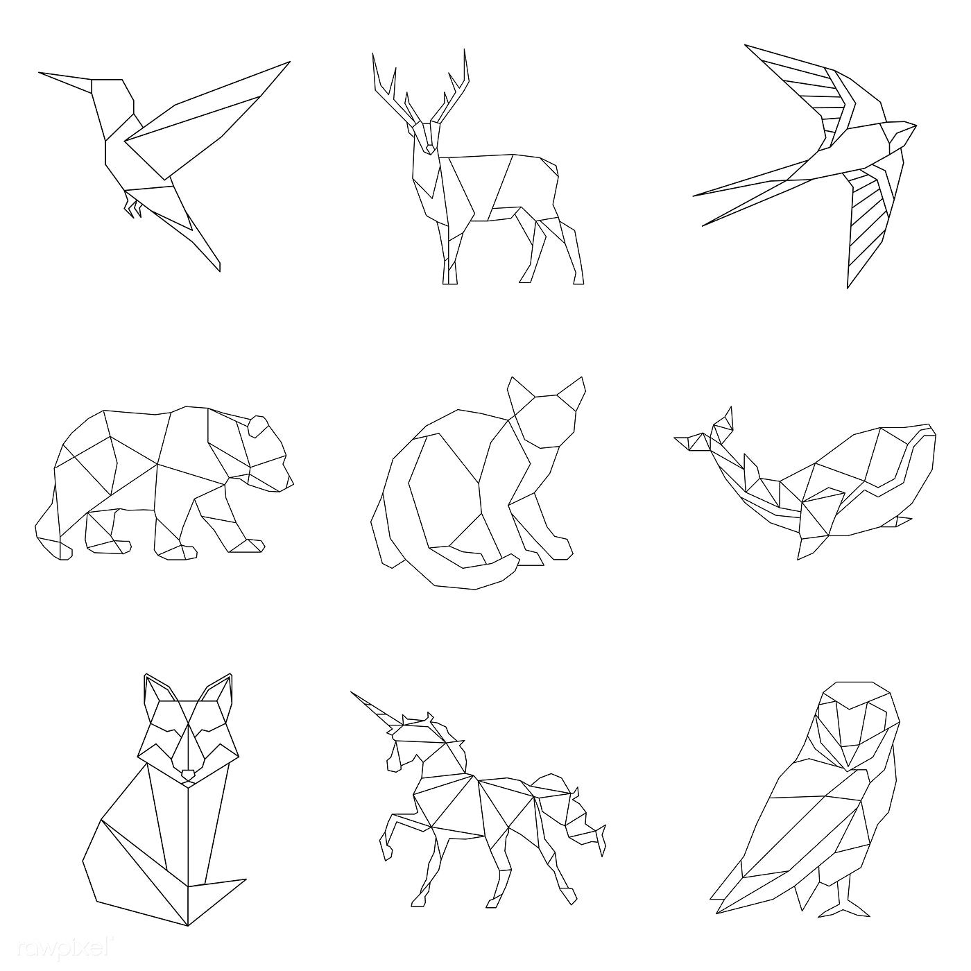 Photo of Download premium vector of Set of animal linear illustrations 518480