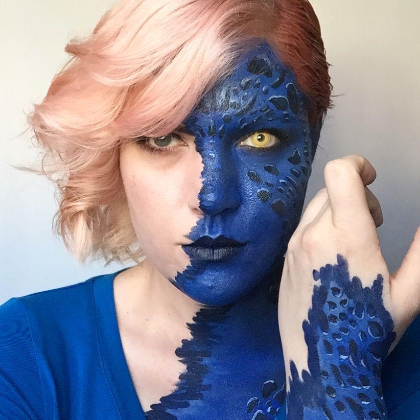 Mystique Makeup X Men Mid Transformation Mystiquecosplay Mystiquemakeup Mystiquetranformation Mystic Xmen Makeup Mystic