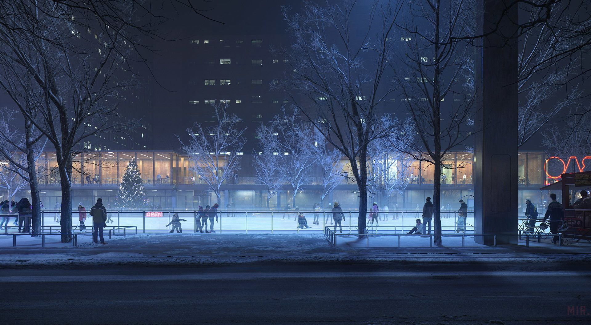 Ice Skating Rink By Tamas Medve Architecture 3d Cgsociety Winter Wallpaper Tree Winter Wallpaper Anime City