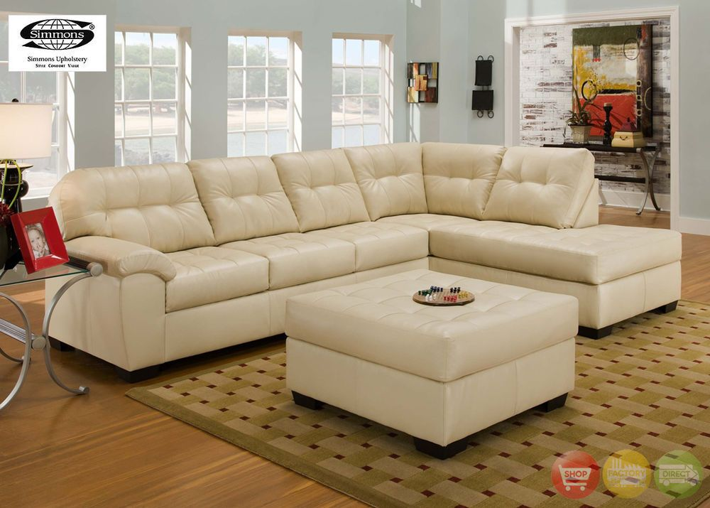 Soho Contemporary Ivory Bonded Leather Sectional Sofa w/Chaise Simmons Brand : simmons faux leather sectional - Sectionals, Sofas & Couches