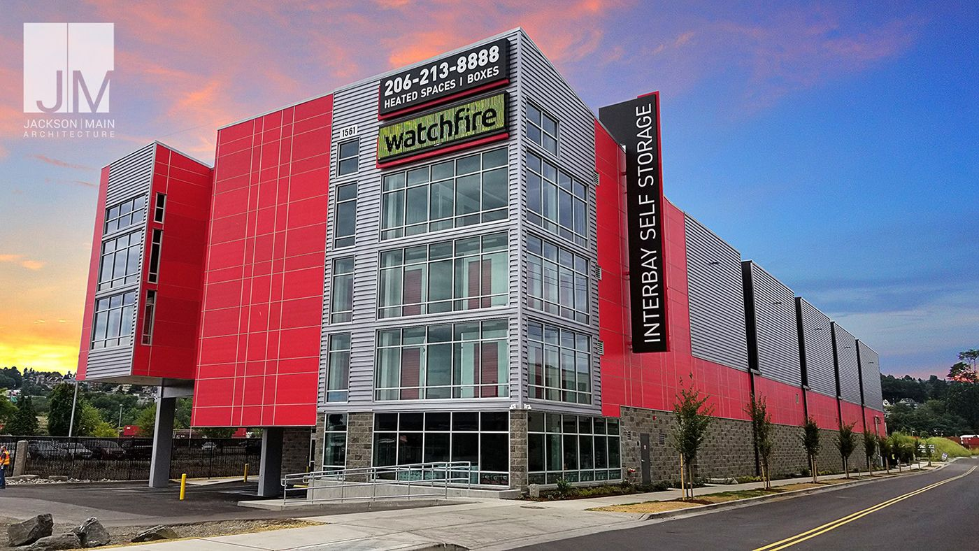 Interbay Self Storage Opens On Armory Way The Four Story 95 000 Square Foot Facility Was Designed By Jackson Main Arch Self Storage Architecture Construction