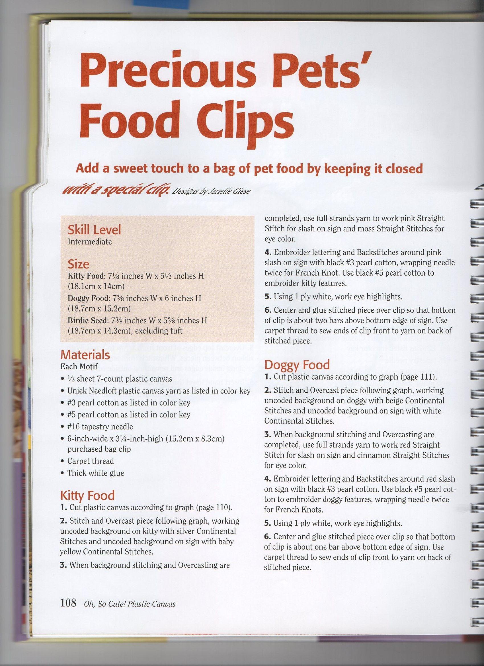 Precious Pets Food Clips 1 Plastic Canvas Crafts Food Clips Canvas Crafts