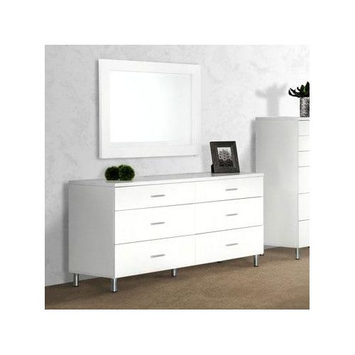 modrest bravo modern white dresser product features white matte finish brushed silver metal handles and legs 6 drawers mirror available