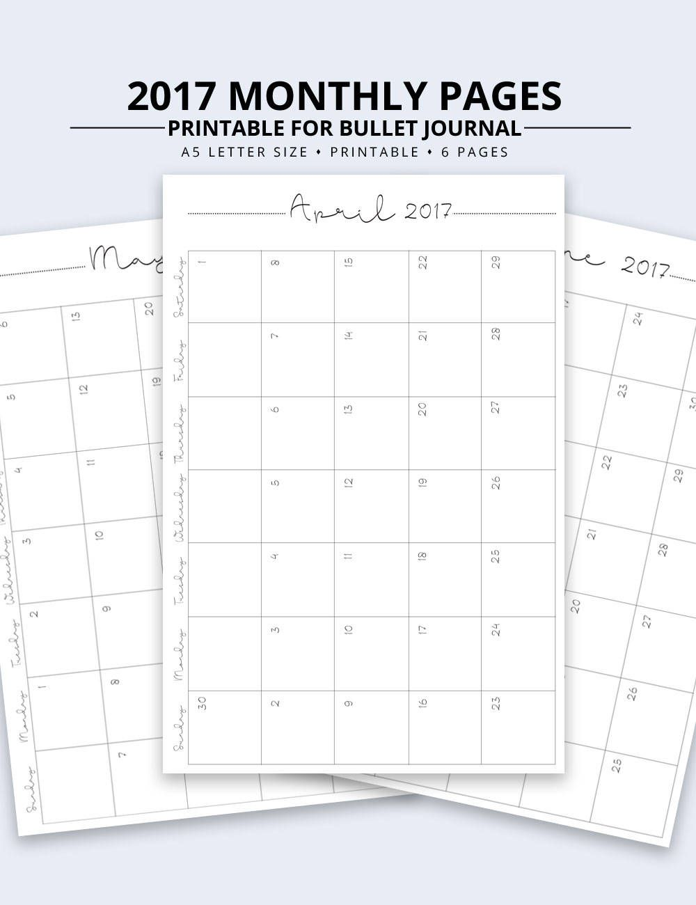 2019 2020 Monthly Calendar A5 Printable Instant Download