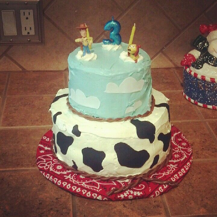 Astounding Home Made Toy Story Cake No Fondant Used Spots And Clouds Made Birthday Cards Printable Opercafe Filternl