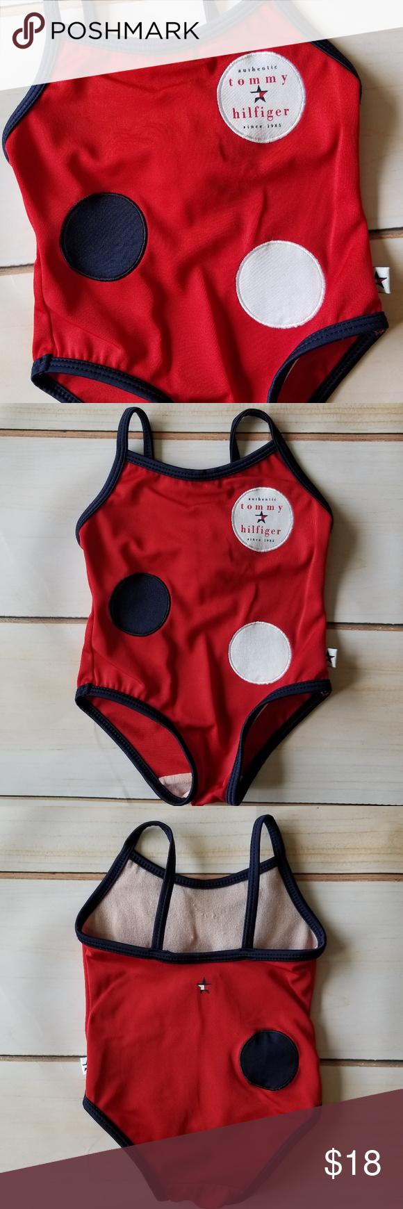 a048530d1 Tommy Hilfiger VTG Polka Dot Baby Girl Swimsuit EUC for age (Vintage 2000)!