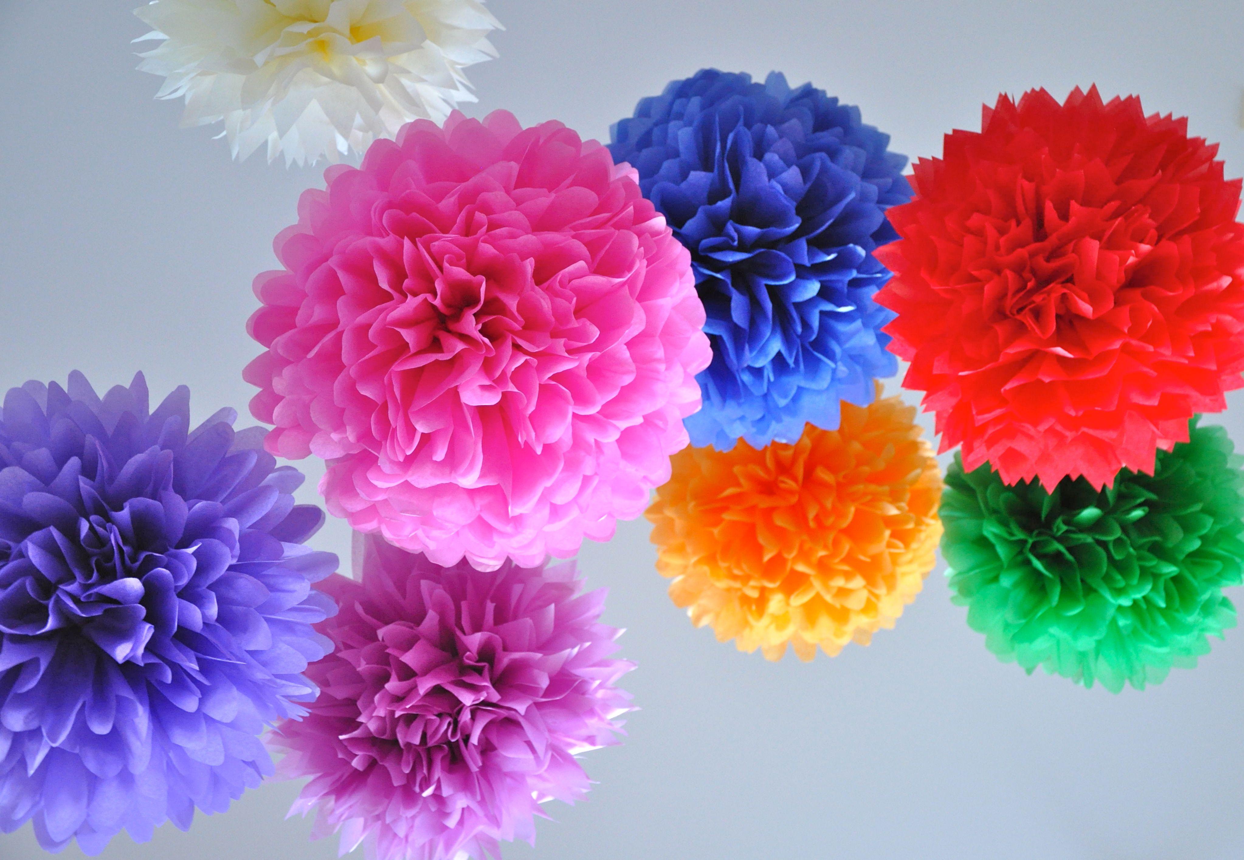 10 Paper Pom Poms Wedding Decor Nursery Baby Mobile Custom Colors Paper Flower Ball Tissue Paper Pom Poms Wedding Tissue Paper Flowers