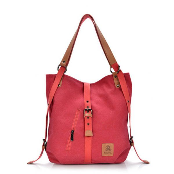 Women Canvas Casual Multifunctional Microfiber Leather Large Capacity Handbag Shoulder Bags Backpack Online - NewChic