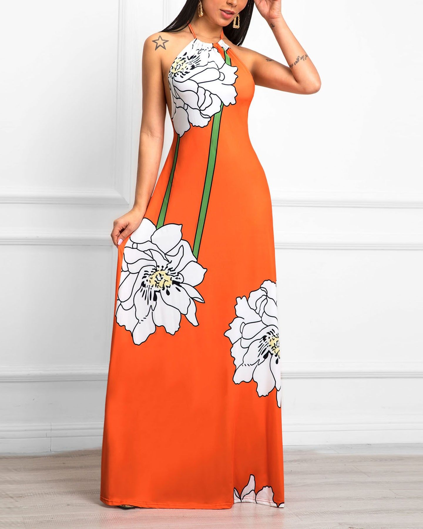 Style Fashion Pattern Type Floral Material 100 Polyester Neckline Halter Sleeve Style Sleeveless Decoration Floral Prin Maxi Dress Halter Maxi Dresses Dresses [ 1800 x 1440 Pixel ]