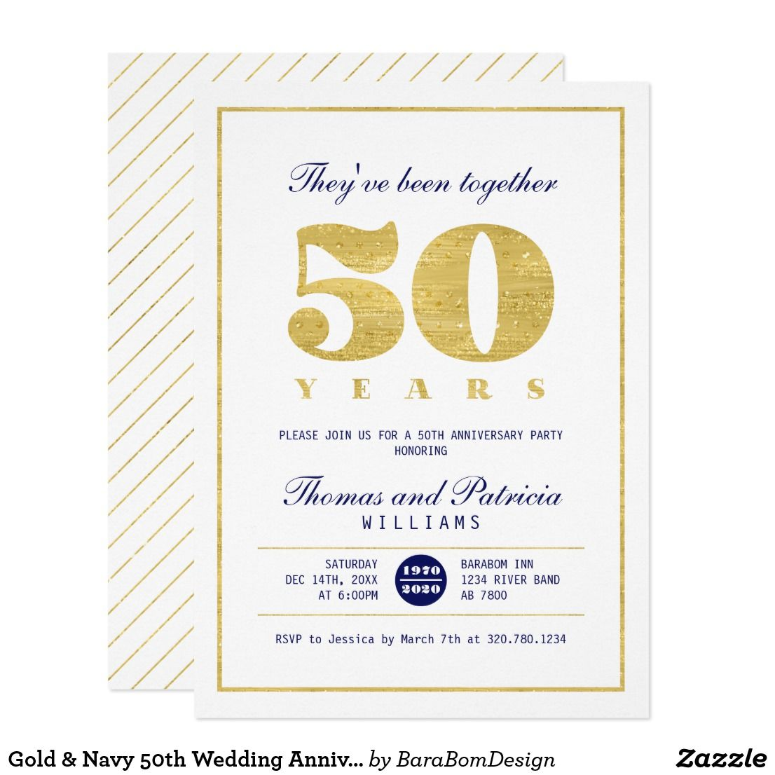 Gold & Navy 50th Wedding Anniversary Invitation | Pinterest | 50th ...
