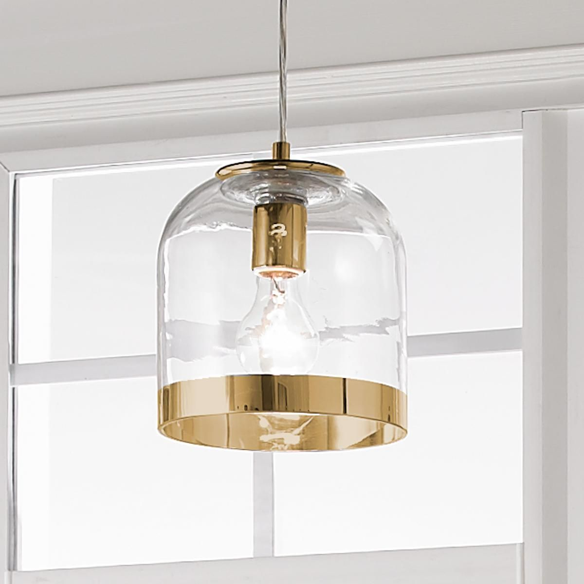 Young House Love Metallic Rimmed Glass Pendant Glass Pendant Light Young House Love Gold Pendant Lighting