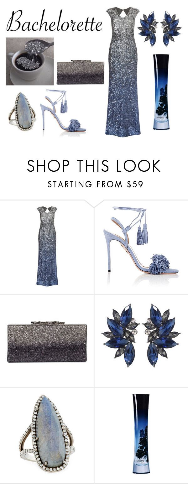 """Code"" by ohlapislazuli ❤ liked on Polyvore featuring Phase Eight, Aquazzura, Jimmy Choo, Sheryl Lowe, Giorgio Armani, Blue, dress, party, formal and gown"
