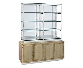 Libreria in quercia e vetro con 2 vetrinette Modern - 180x220x40 cm