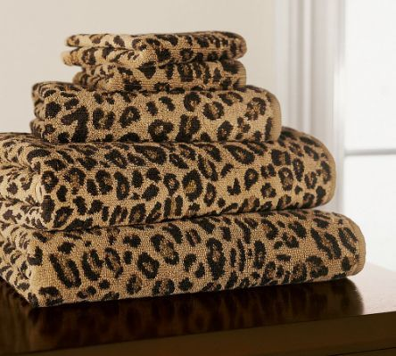 Leopard Jacquard Bath Towels By Leopard Print Bathroom Animal
