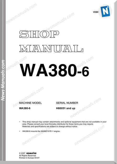 Komatsu Wa380 6 Shop Manual