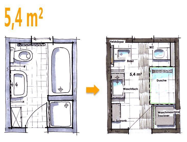 Badplanung Example 5 4 Sqm New Wishes For The New Bathroom Bathroom Ideas Bad Grundriss Badplanung Neues Bad