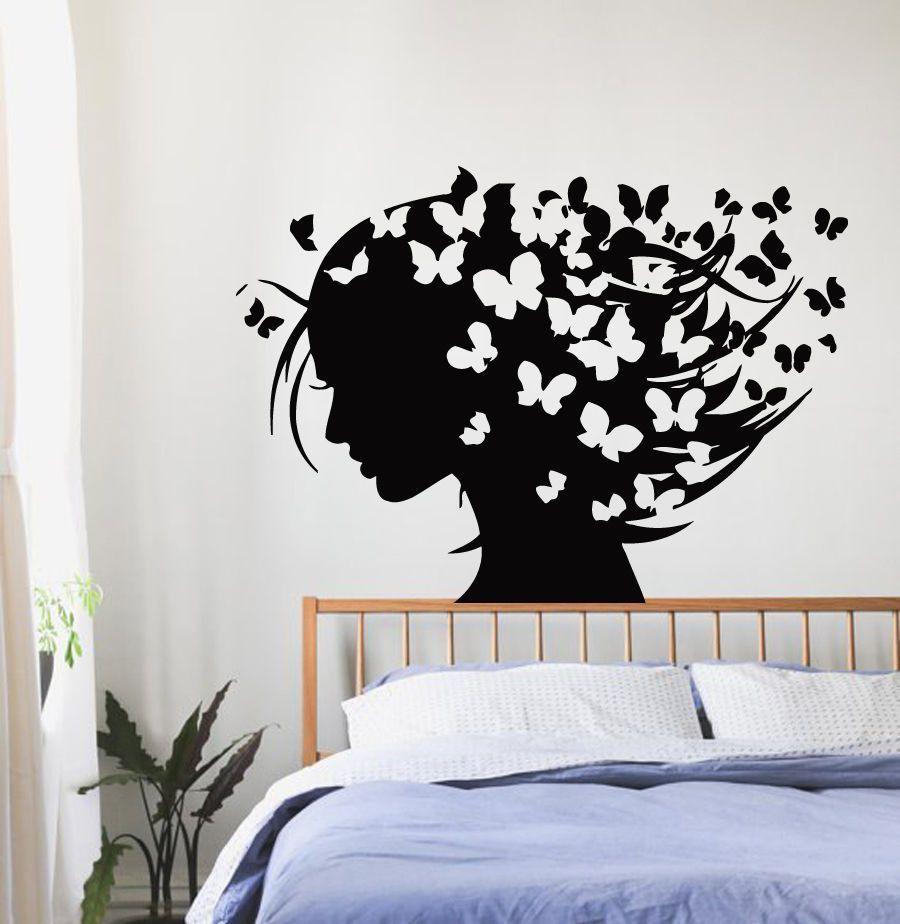 Wall Decals Vinyl Decal Sticker Art Murals Decor Girl Butterflies In Hair Kj143 Wall Art Decor Bedroom Bedroom Wall Paint Wall Paint Designs