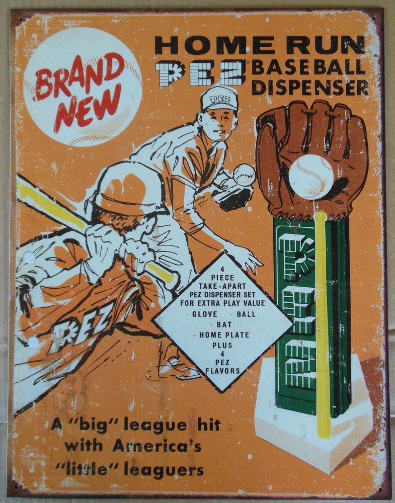 Vintage Replica Tin Metal Sign Pez Dispenser Baseball Candy Ball Glove Bat 1445 Homerun Baseball Baseball Posters