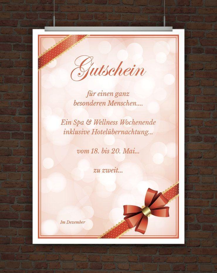 Geschenkgutschein mit Schleife  Gutscheinvorlagen
