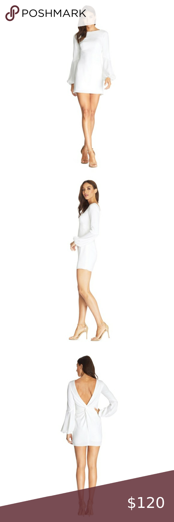 Dress The Population Mackenzie Long Sleeve Dress Colorway White Sold Out High Round Neckline Long Sl Dress The Population Long Sleeve Dress Long Sleeve
