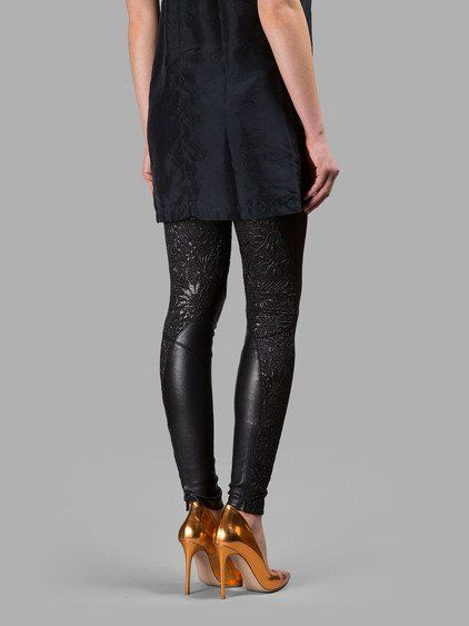 FAITH CONNEXION FAITH CONNEXION WOMEN'S BLACK LEATHER LEGGINGS WITH EMBROIDERY. #faithconnexion #cloth #leggings