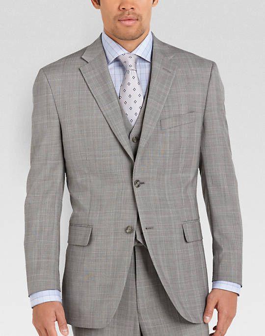 Jones New York Gray Plaid Modern Fit Vested Suit Men S Wearhouse