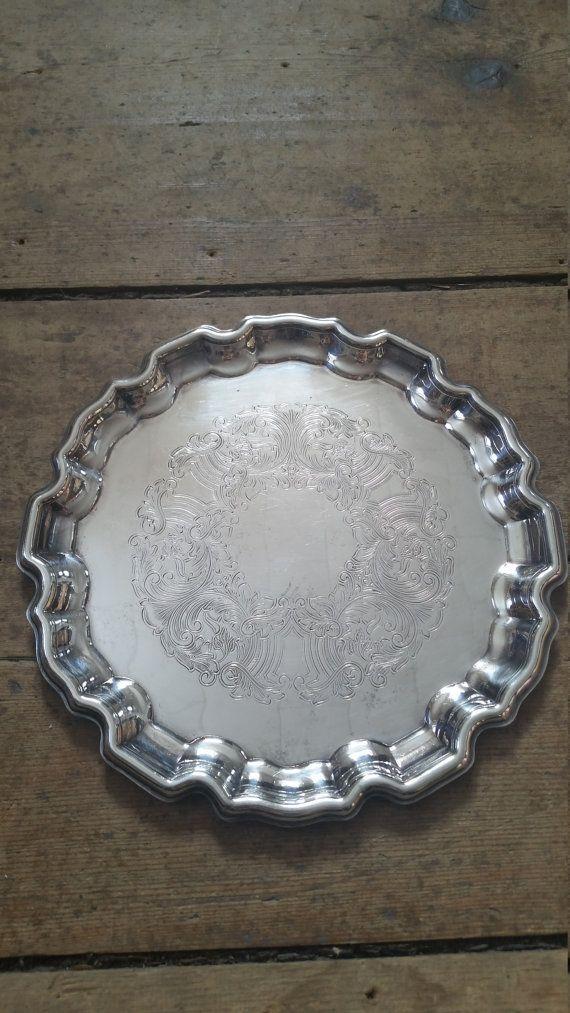 Vintage Silver Heavy Scalloped Edge Entryway Tray. Vanity Tray