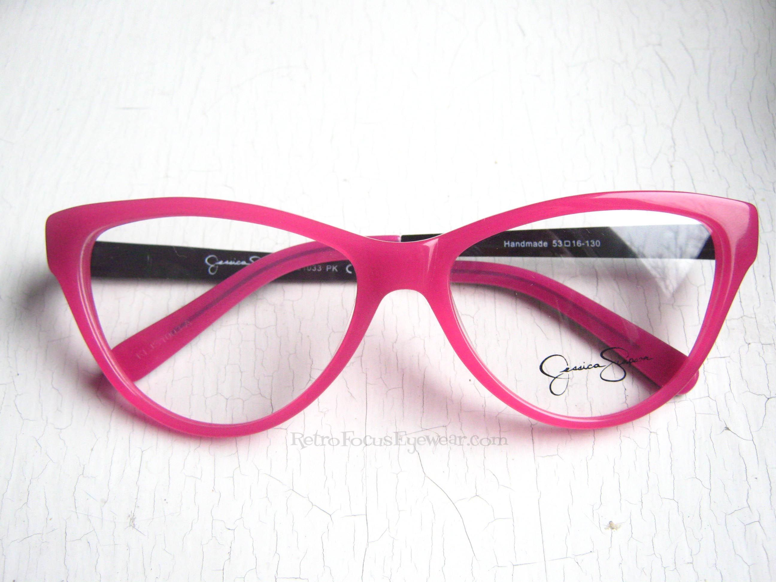 554dea98a1 Jessica Simpson Pink Oversized Eyeglass Frames. Gorgeous cat eye eyeglass  frames with black pink leopard temples.