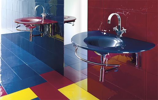 very colorful bathroom
