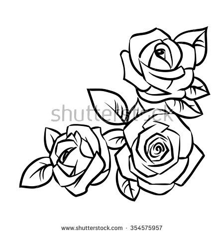 Three Roses With Leaves On A White Background Vector Illustration Rose Outline Drawing Flower Drawing Images Outline Drawings